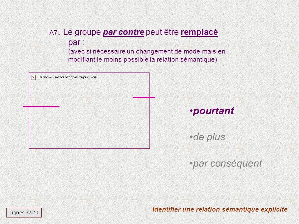 Identifier une relation sémantique explicite Lignes 62-70 par contre A7. Le groupe par contre peut être remplacé par : (avec si nécessaire un changeme