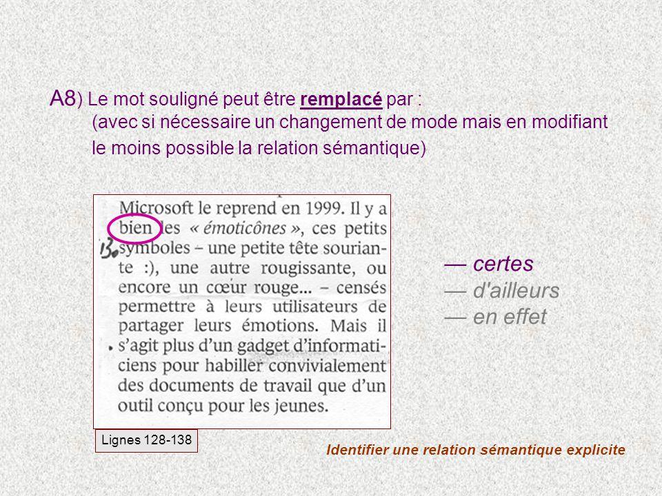 Identifier une relation sémantique explicite certes d'ailleurs en effet Lignes 128-138 A8 ) Le mot souligné peut être remplacé par : (avec si nécessai