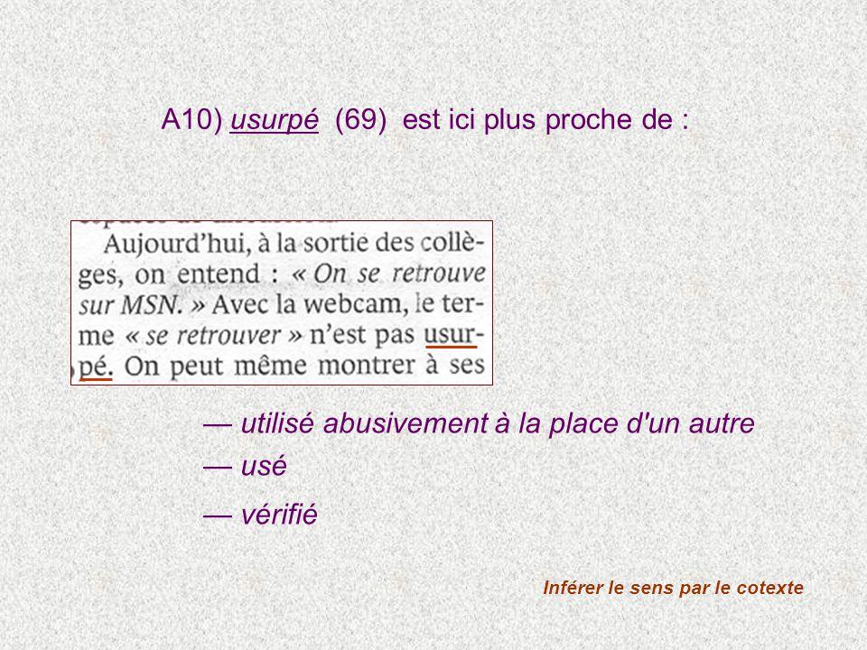 A10) usurpé (69) est ici plus proche de : utilisé abusivement à la place d'un autre usé vérifié Inférer le sens par le cotexte