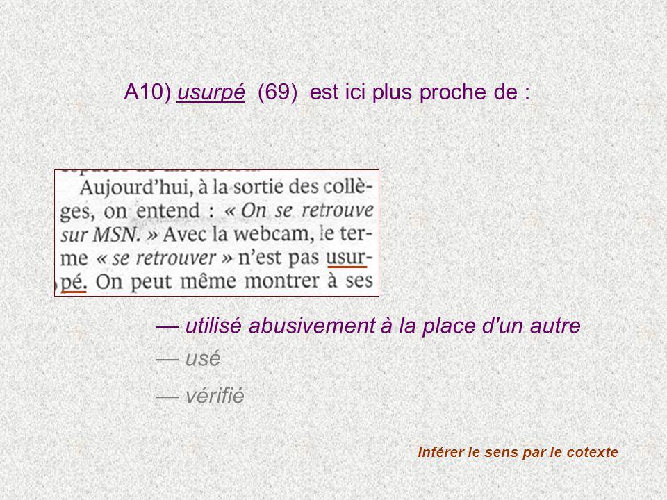 utilisé abusivement à la place d'un autre usé vérifié Inférer le sens par le cotexte A10) usurpé (69) est ici plus proche de :