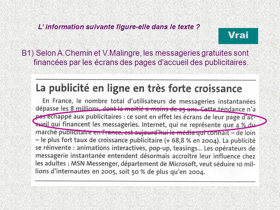 B1) Selon A.Chemin et V.Malingre, les messageries gratuites sont financées par les écrans des pages d'accueil des publicitaires. L information suivant
