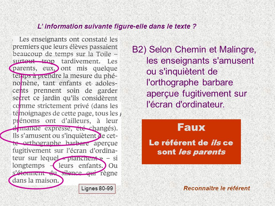 B2) Selon Chemin et Malingre, les enseignants s'amusent ou s'inquiètent de l'orthographe barbare aperçue fugitivement sur l'écran d'ordinateur. L info
