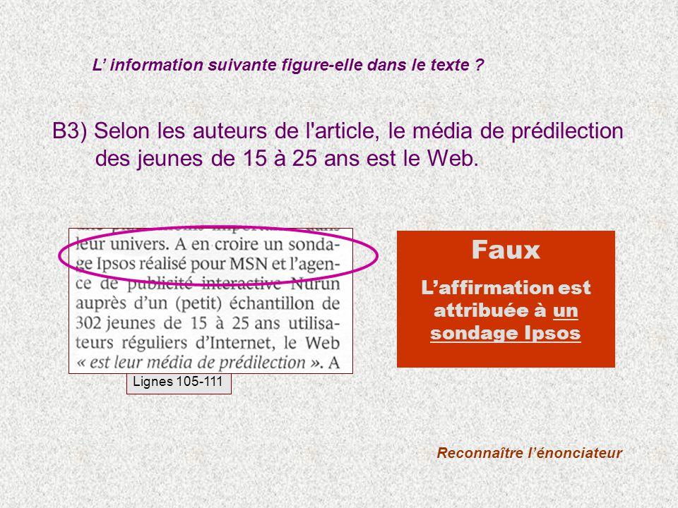 B3) Selon les auteurs de l'article, le média de prédilection des jeunes de 15 à 25 ans est le Web. L information suivante figure-elle dans le texte ?