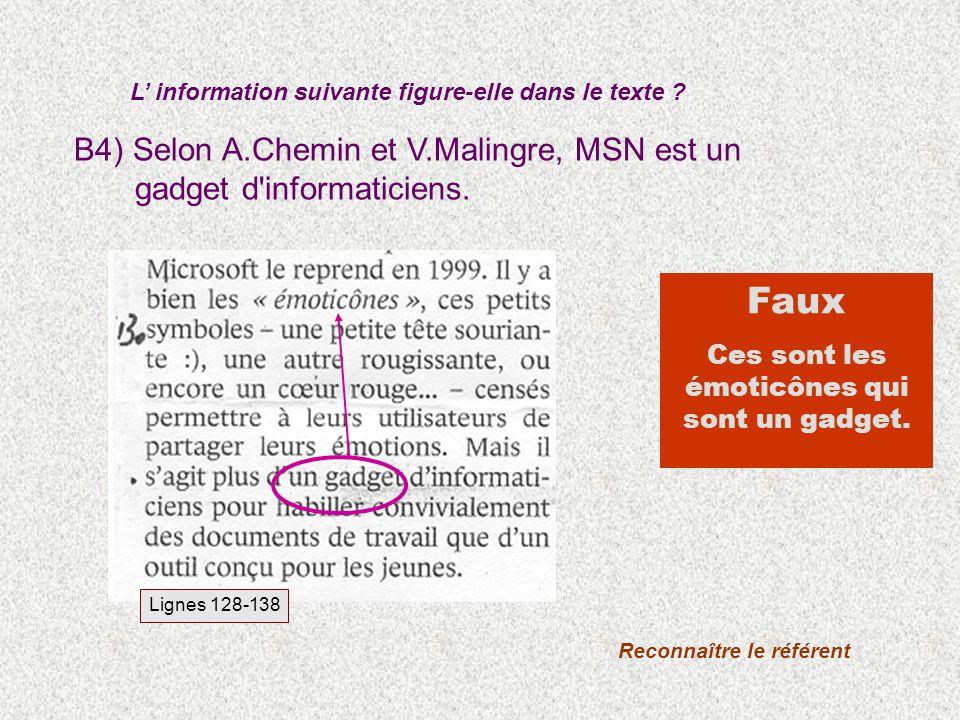 Lignes 128-138 B4) Selon A.Chemin et V.Malingre, MSN est un gadget d'informaticiens. L information suivante figure-elle dans le texte ? Reconnaître le