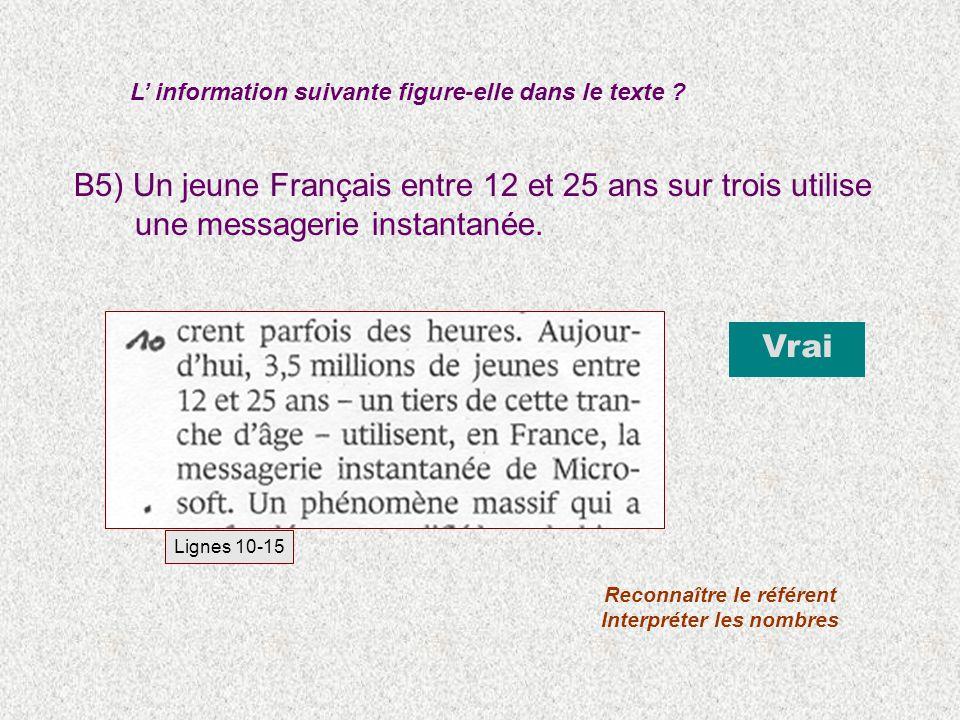 B5) Un jeune Français entre 12 et 25 ans sur trois utilise une messagerie instantanée. L information suivante figure-elle dans le texte ? Vrai Reconna