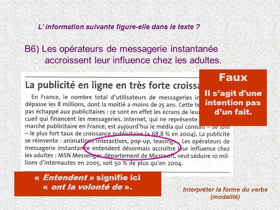 B6) Les opérateurs de messagerie instantanée accroissent leur influence chez les adultes. L information suivante figure-elle dans le texte ? Interprét