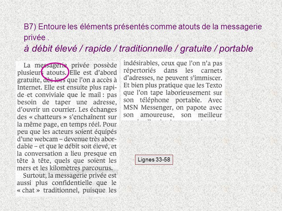 B7) Entoure les éléments présentés comme atouts de la messagerie privée. à débit élevé / rapide / traditionnelle / gratuite / portable Lignes 33-58