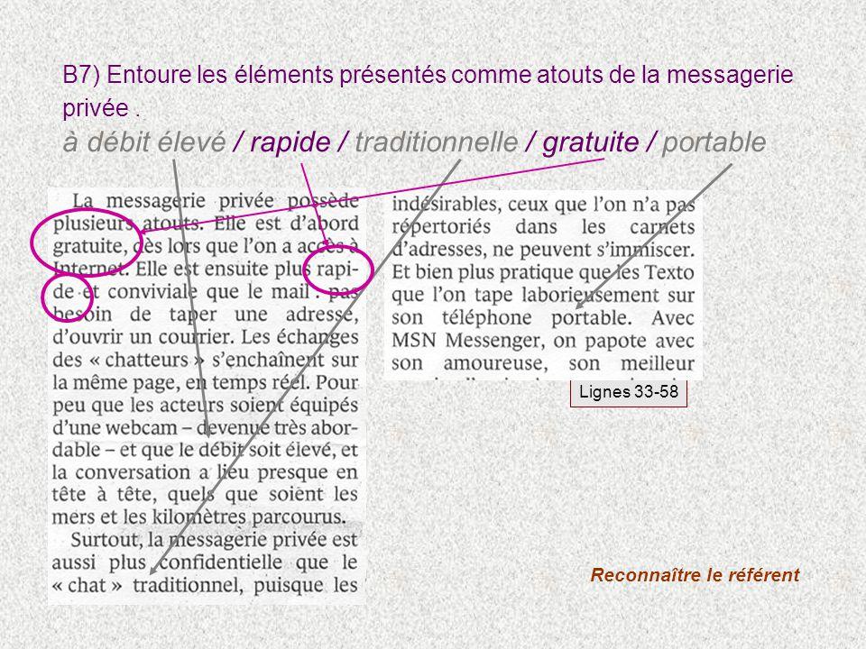 B7) Entoure les éléments présentés comme atouts de la messagerie privée. à débit élevé / rapide / traditionnelle / gratuite / portable Reconnaître le