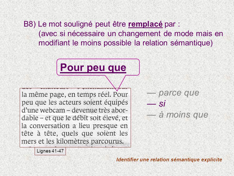 B8) Le mot souligné peut être remplacé par : (avec si nécessaire un changement de mode mais en modifiant le moins possible la relation sémantique) Ide