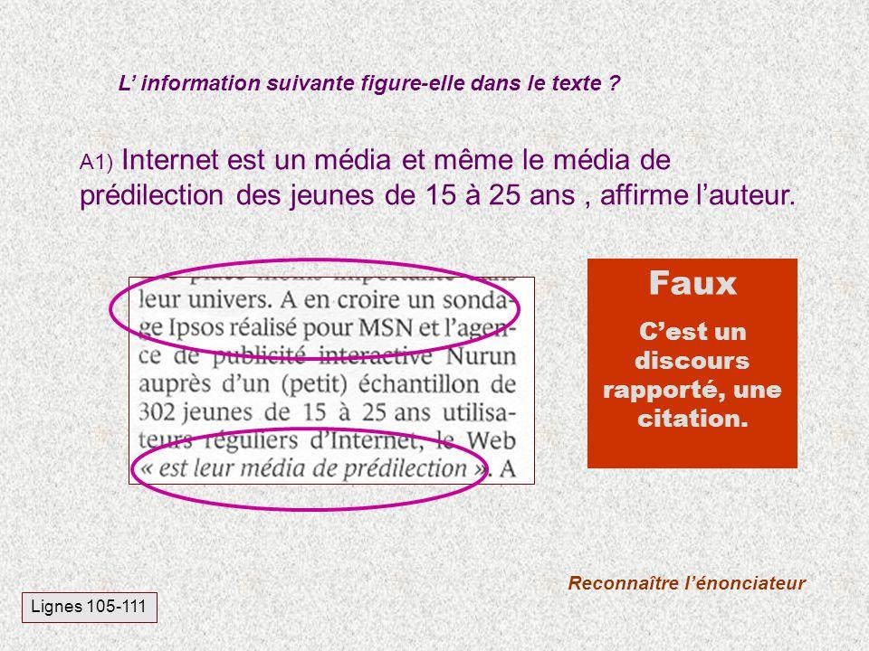 A1) Internet est un média et même le média de prédilection des jeunes de 15 à 25 ans, affirme lauteur. L information suivante figure-elle dans le text