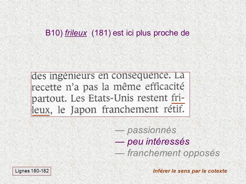 B10) frileux (181) est ici plus proche de Inférer le sens par le cotexte Lignes 180-182 passionnés peu intéressés franchement opposés