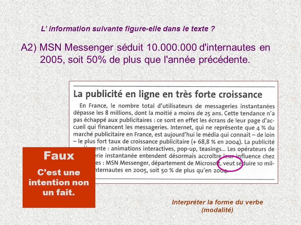 A2) MSN Messenger séduit 10.000.000 d'internautes en 2005, soit 50% de plus que l'année précédente. L information suivante figure-elle dans le texte ?