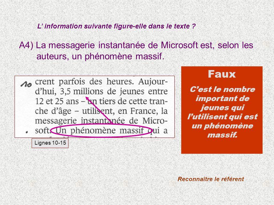 A4) La messagerie instantanée de Microsoft est, selon les auteurs, un phénomène massif. L information suivante figure-elle dans le texte ? Faux Cest l