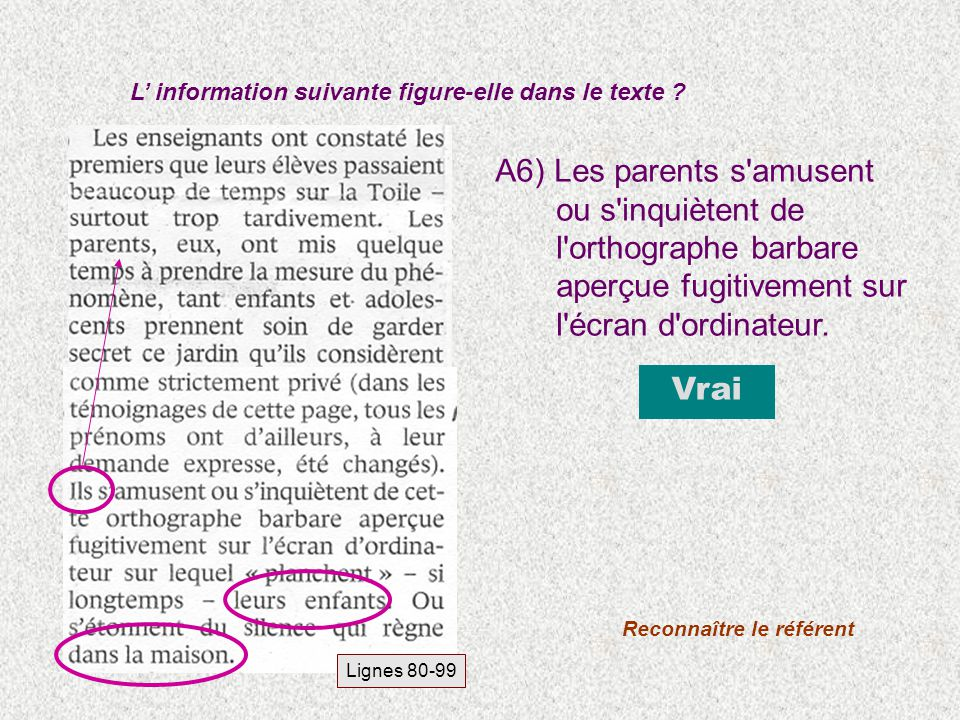 A6) Les parents s'amusent ou s'inquiètent de l'orthographe barbare aperçue fugitivement sur l'écran d'ordinateur. L information suivante figure-elle d