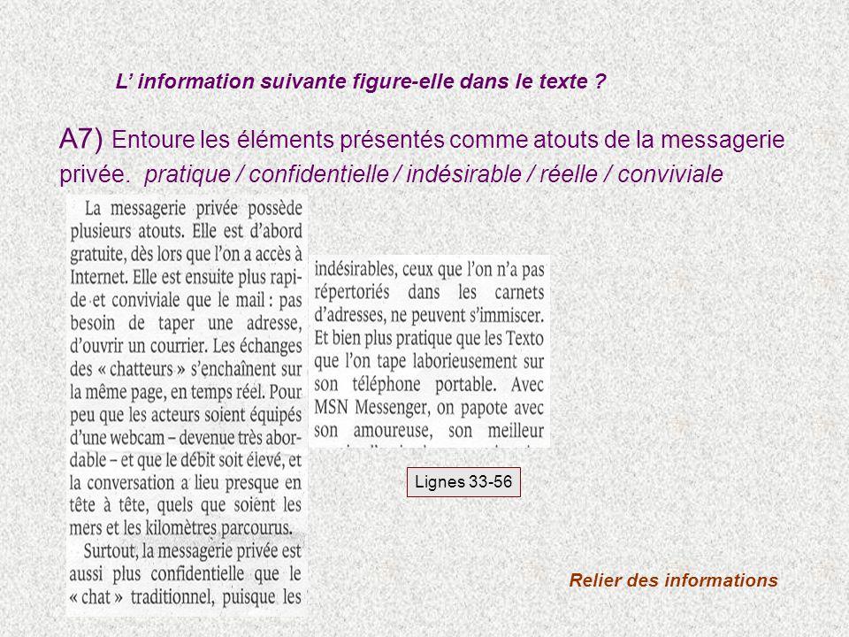 A7) Entoure les éléments présentés comme atouts de la messagerie privée.pratique / confidentielle / indésirable / réelle / conviviale L information su