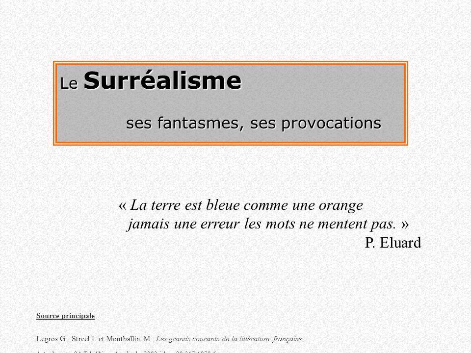 Le Surréalisme ses fantasmes, ses provocations « La terre est bleue comme une orange jamais une erreur les mots ne mentent pas. » P. Eluard Source pri