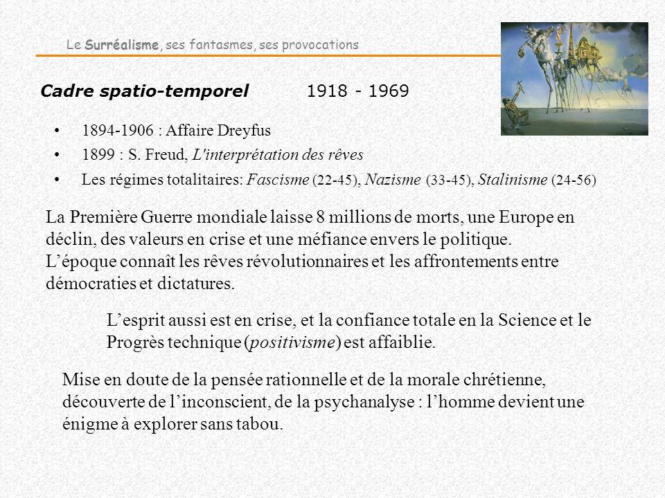 Cadre spatio-temporel1918 - 1969 1894-1906 : Affaire Dreyfus 1899 : S. Freud, L'interprétation des rêves Les régimes totalitaires: Fascisme (22-45), N