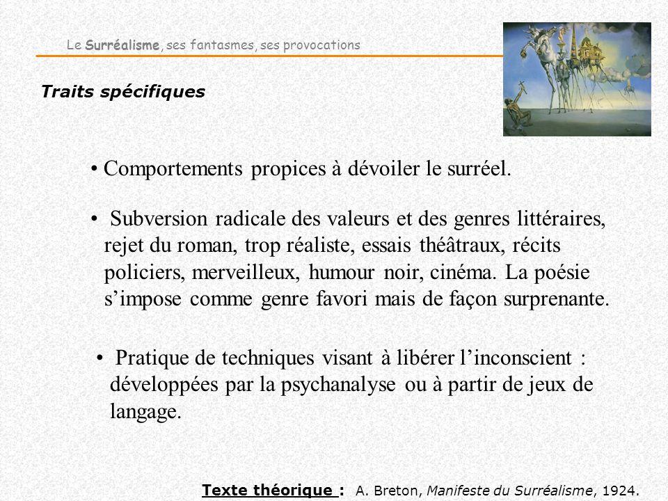 Traits spécifiques Comportements propices à dévoiler le surréel. Texte théorique : A. Breton, Manifeste du Surréalisme, 1924. Le Surréalisme, ses fant