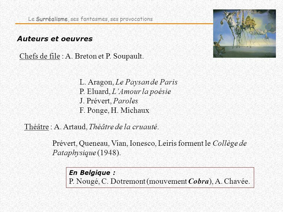 Auteurs et oeuvres En Belgique : P. Nougé, C. Dotremont (mouvement Cobra), A. Chavée. Le Surréalisme, ses fantasmes, ses provocations Chefs de file :