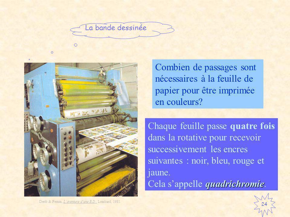 La bande dessinée 24 Combien de passages sont nécessaires à la feuille de papier pour être imprimée en couleurs.