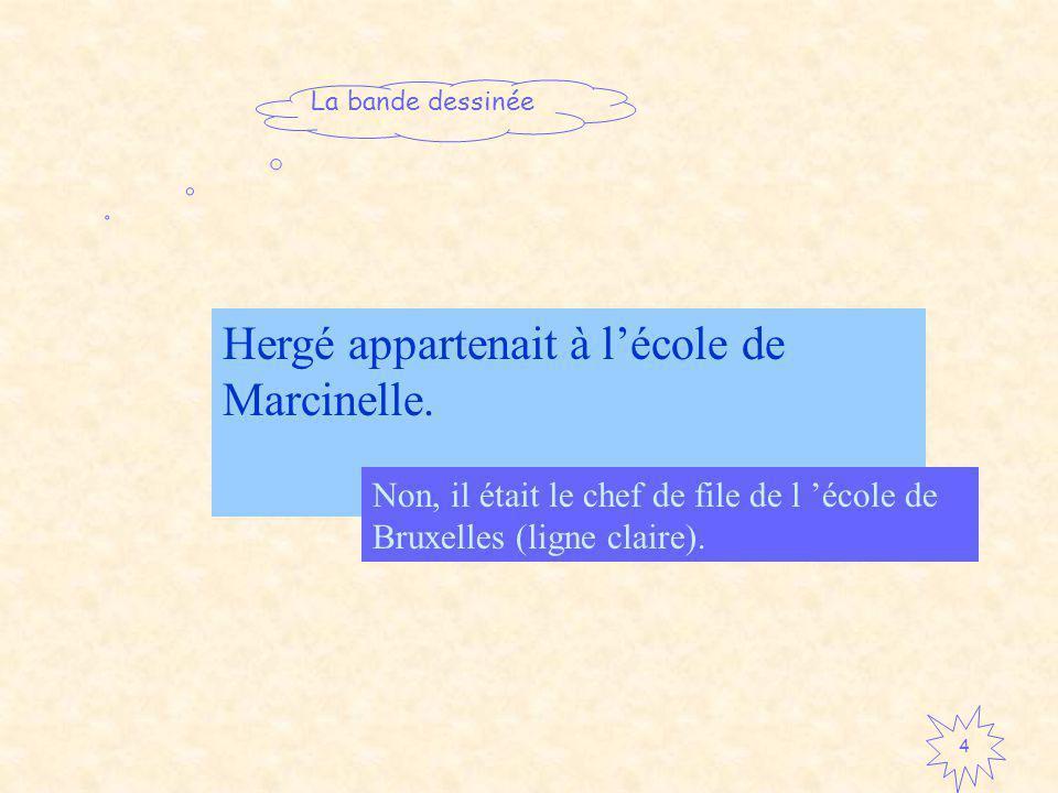 La bande dessinée 4 Hergé appartenait à lécole de Marcinelle.
