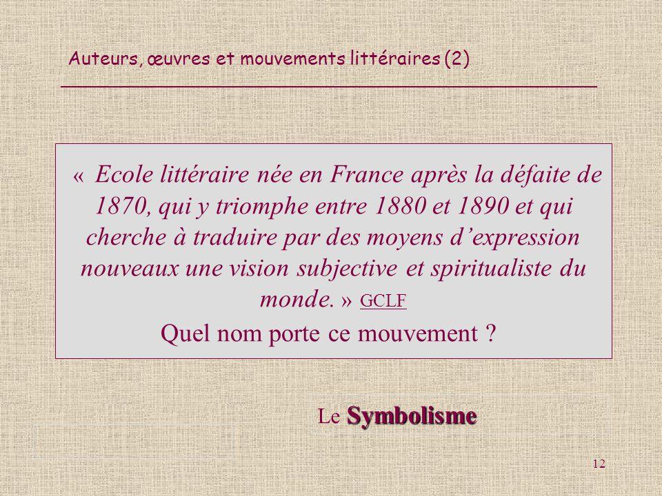 Auteurs, œuvres et mouvements littéraires (2) 12 « Ecole littéraire née en France après la défaite de 1870, qui y triomphe entre 1880 et 1890 et qui c
