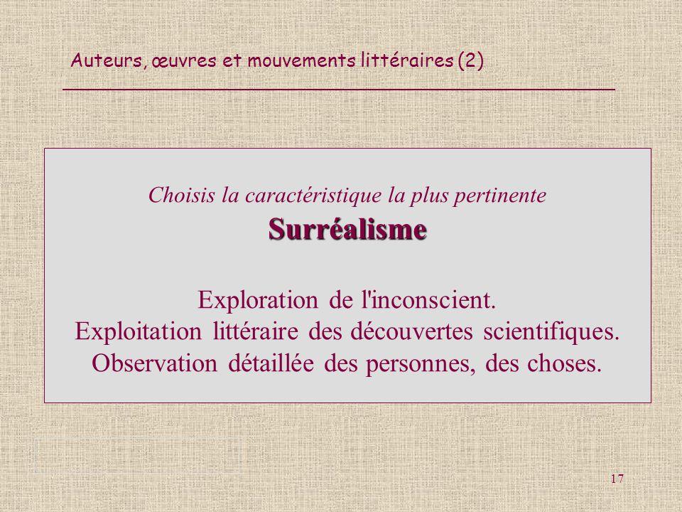 Auteurs, œuvres et mouvements littéraires (2) 17 Surréalisme Choisis la caractéristique la plus pertinente Surréalisme Exploration de l'inconscient. E