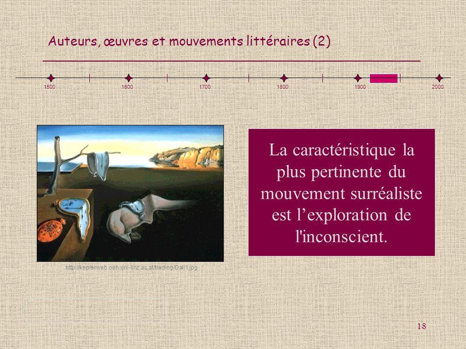 Auteurs, œuvres et mouvements littéraires (2) 18 La caractéristique la plus pertinente du mouvement surréaliste est lexploration de l'inconscient. 150