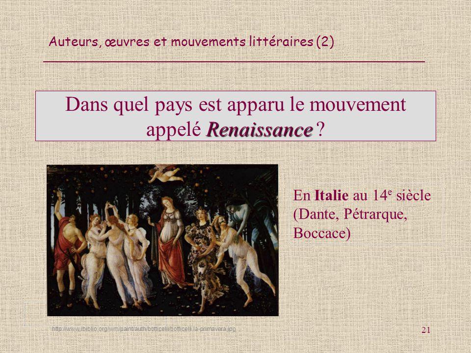 Auteurs, œuvres et mouvements littéraires (2) 21 Renaissance Dans quel pays est apparu le mouvement appelé Renaissance ? En Italie au 14 e siècle (Dan