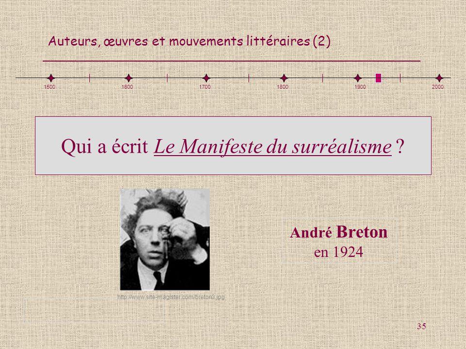 Auteurs, œuvres et mouvements littéraires (2) 35 Qui a écrit Le Manifeste du surréalisme ? André Breton en 1924 150016001700180019002000 http://www.si