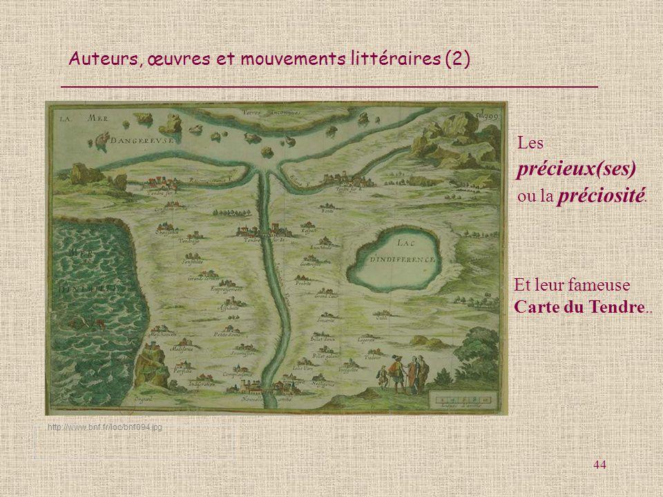 Auteurs, œuvres et mouvements littéraires (2) 44 http://www.bnf.fr/loc/bnf094.jpg Les précieux(ses) ou la préciosité. Et leur fameuse Carte du Tendre.
