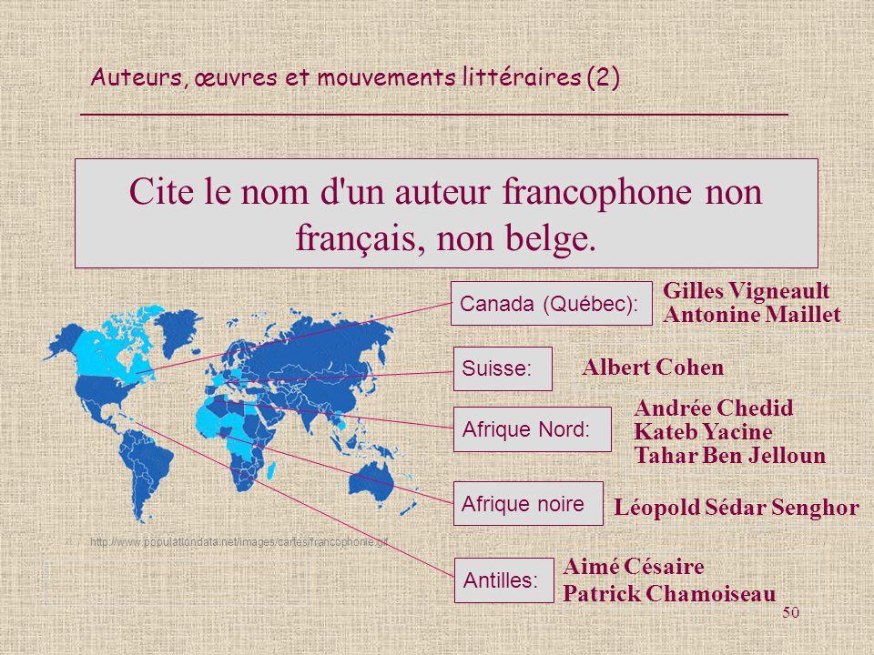 Auteurs, œuvres et mouvements littéraires (2) 50 Cite le nom d'un auteur francophone non français, non belge. Aimé Césaire Patrick Chamoiseau http://w