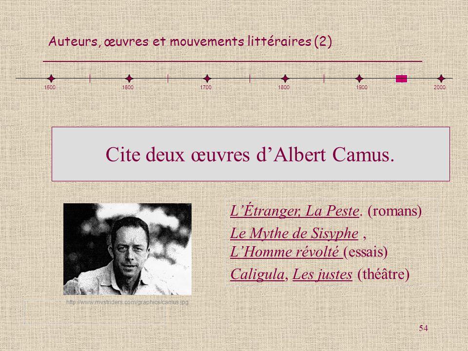 Auteurs, œuvres et mouvements littéraires (2) 54 http://www.mvstriders.com/graphics/camus.jpg 150016001700180019002000 LÉtranger, La Peste. (romans) L