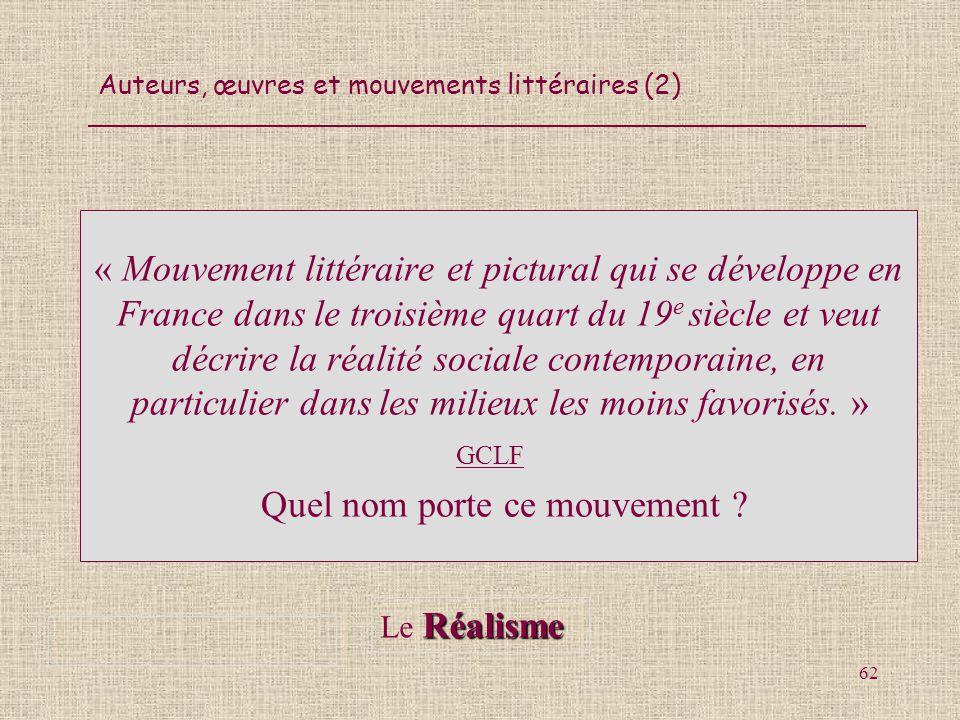 Auteurs, œuvres et mouvements littéraires (2) 62 « Mouvement littéraire et pictural qui se développe en France dans le troisième quart du 19 e siècle