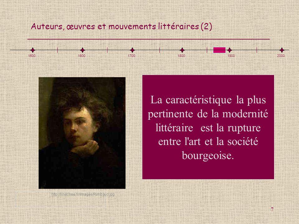 Auteurs, œuvres et mouvements littéraires (2) 7 La caractéristique la plus pertinente de la modernité littéraire est la rupture entre l'art et la soci
