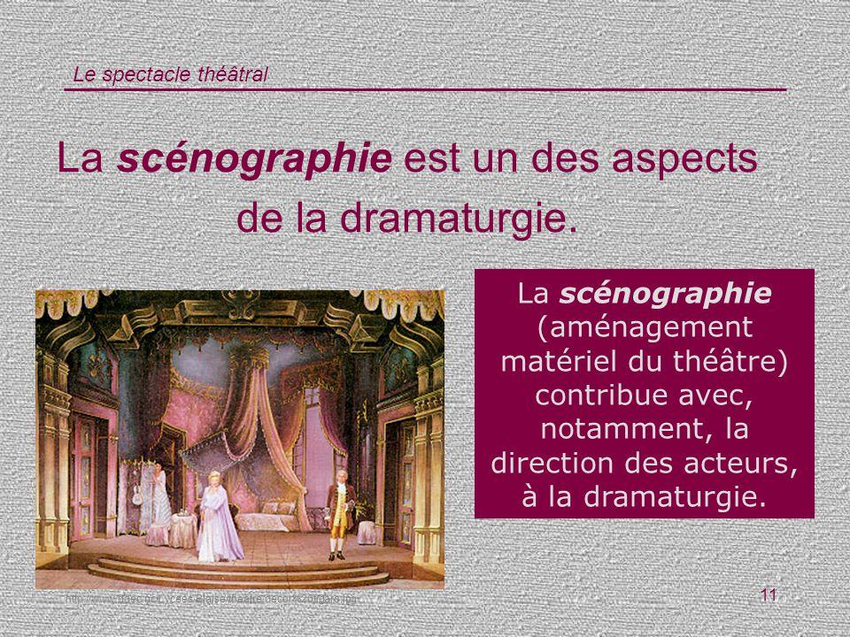 Le spectacle théâtral 11 La scénographie est un des aspects de la dramaturgie. Vrai / Faux ? La scénographie (aménagement matériel du théâtre) contrib