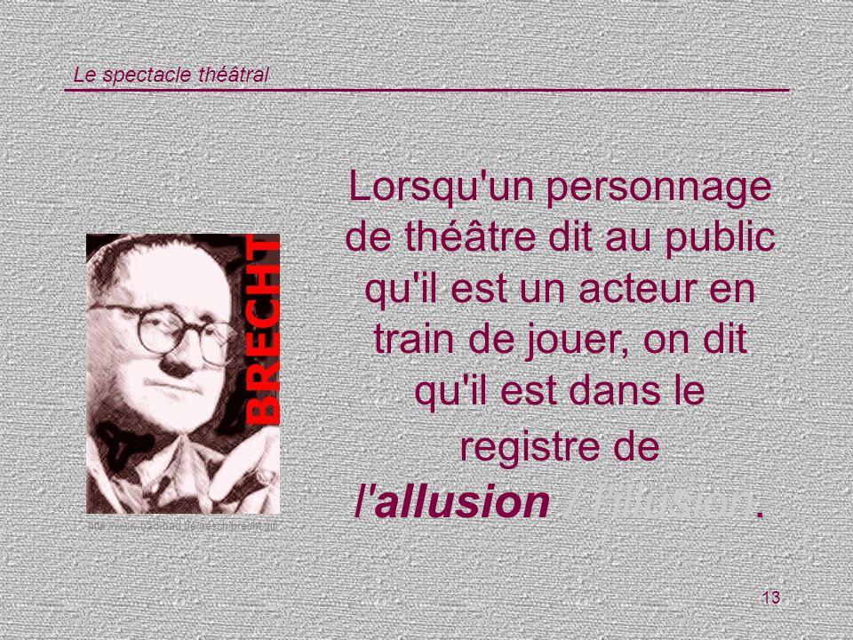 Le spectacle théâtral 13 Lorsqu'un personnage de théâtre dit au public qu'il est un acteur en train de jouer, on dit qu'il est dans le registre de l'a