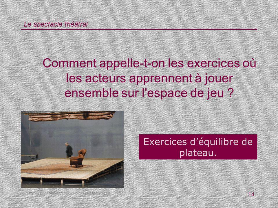 Le spectacle théâtral 14 Comment appelle-t-on les exercices où les acteurs apprennent à jouer ensemble sur l'espace de jeu ? Exercices déquilibre de p