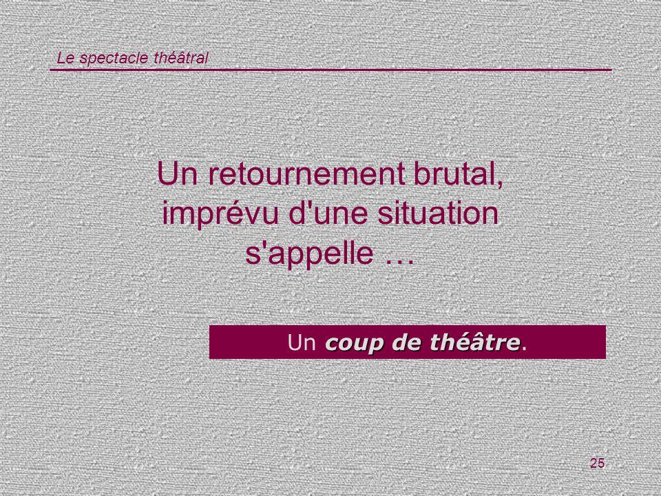 Le spectacle théâtral 25 Un retournement brutal, imprévu d'une situation s'appelle … coup de théâtre Un coup de théâtre.