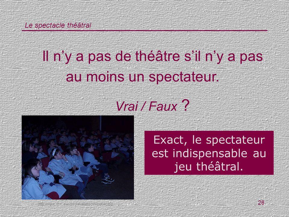 Le spectacle théâtral 26 Il ny a pas de théâtre sil ny a pas au moins un spectateur. Vrai / Faux ? Exact, le spectateur est indispensable au jeu théât