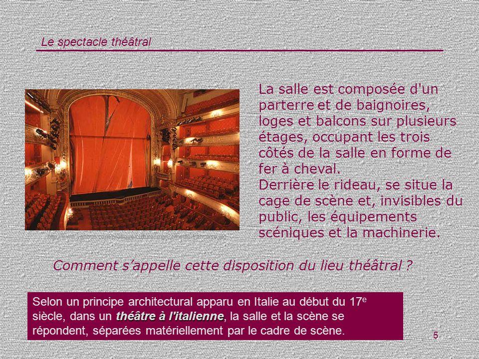 Le spectacle théâtral 5 La salle est composée d'un parterre et de baignoires, loges et balcons sur plusieurs étages, occupant les trois côtés de la sa