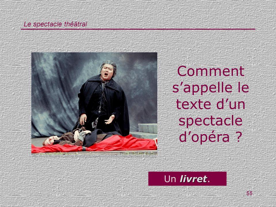 Le spectacle théâtral 55 Comment sappelle le texte dun spectacle dopéra ? livret Un livret. http://www.theatre.vt.edu/gj.ta.undgrdpage/prod.photo/feyd