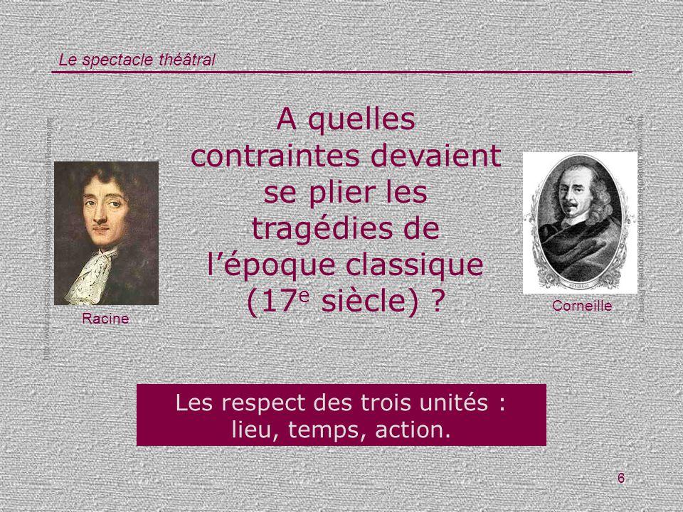Le spectacle théâtral 6 A quelles contraintes devaient se plier les tragédies de lépoque classique (17 e siècle) ? Les respect des trois unités : lieu