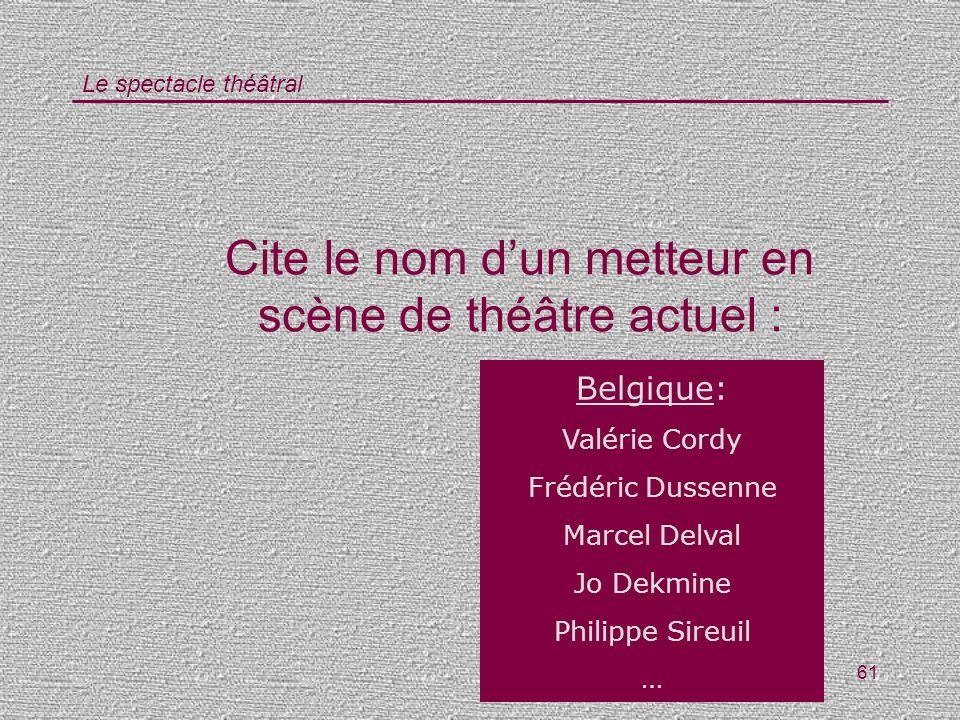 Le spectacle théâtral 61 Cite le nom dun metteur en scène de théâtre actuel : Belgique: Valérie Cordy Frédéric Dussenne Marcel Delval Jo Dekmine Phili