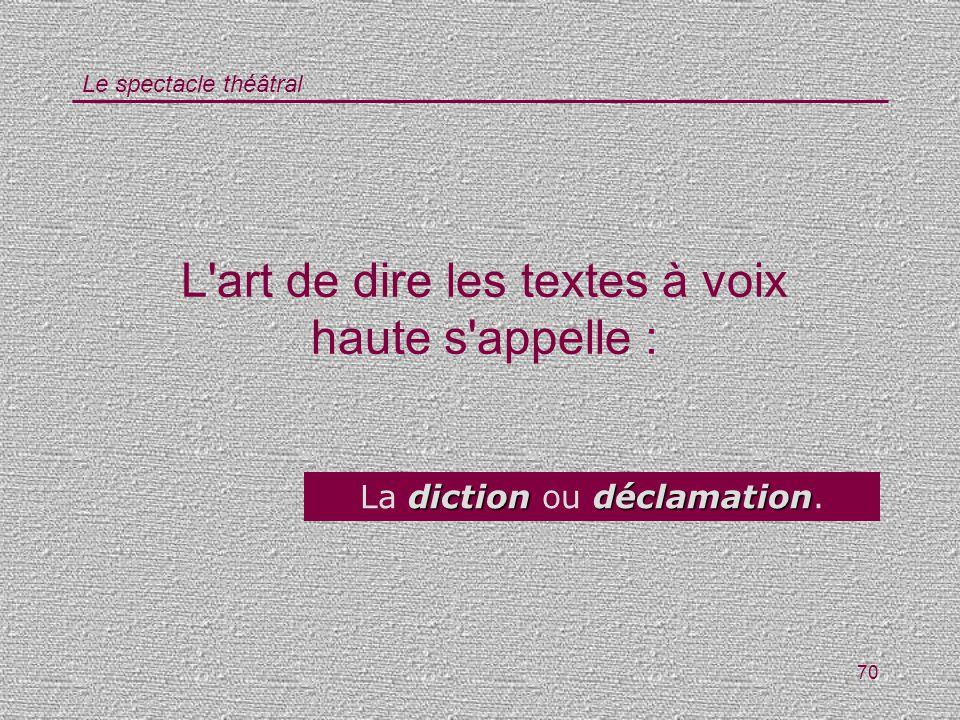 Le spectacle théâtral 70 L'art de dire les textes à voix haute s'appelle : dictiondéclamation La diction ou déclamation.