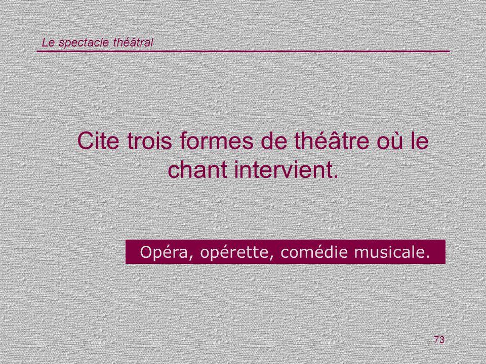 Le spectacle théâtral 73 Cite trois formes de théâtre où le chant intervient. Opéra, opérette, comédie musicale.