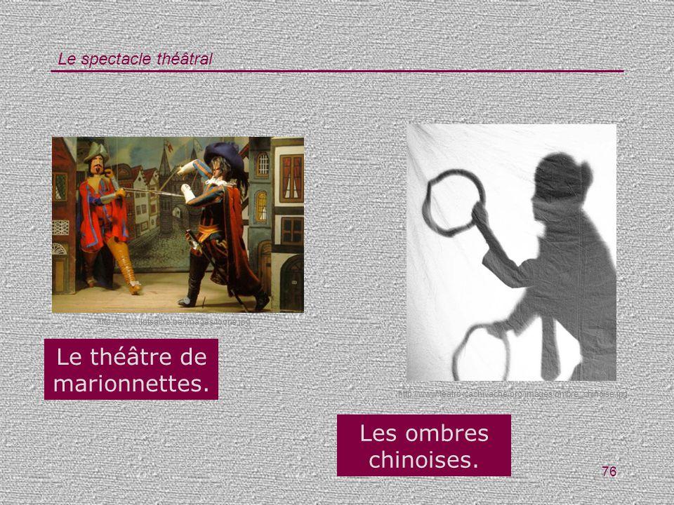 Le spectacle théâtral 76 http://www.teatro-cachivache.org/images/ombre_chinoise.jpg http://www.ilotsacre.be/images/toone.jpg Le théâtre de marionnette