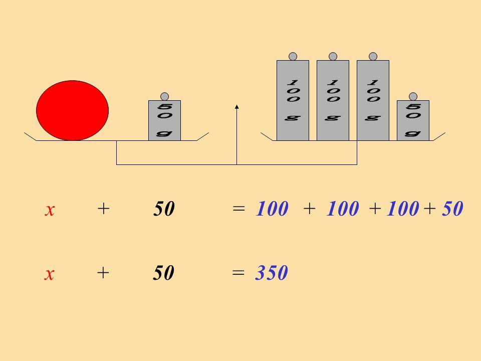 Nous obtenons une égalité particulière qui comporte des nombres, des opérations et des lettres : cest une équation x + 50 = 350