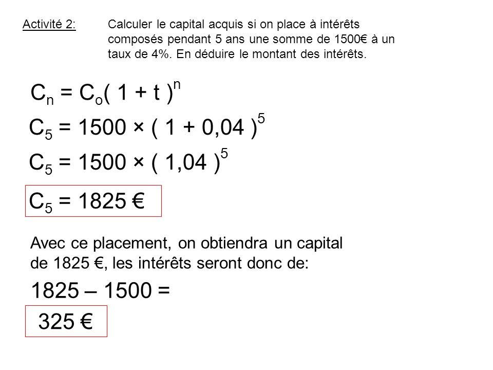 Activité 2:Calculer le capital acquis si on place à intérêts composés pendant 5 ans une somme de 1500 à un taux de 4%. En déduire le montant des intér