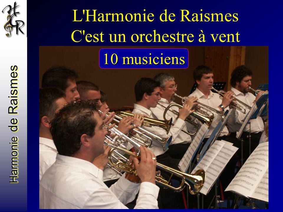 L'Harmonie de Raismes C'est un orchestre à vent Avec des trompettes 10 musiciens